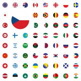 Czech Republic round flag icon. Round World Flags Vector illustration Icons Set. Czech Republic round flag icon. Round World Flags Vector illustration Icons Set Royalty Free Stock Photos