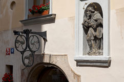 Czech Republic. The sculpture on the facade of a house in Prague. June 13, 2016. Czech Republic. Prague. The sculpture on the facade of a house in Prague. June Stock Image
