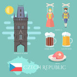 Czech Republic. Set of traditional attractions, souvenirs and cuisine Royalty Free Stock Photography