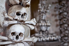 Czech Republic. Skulls and bones in the ossuary in Kutna Hora. June 14, 2016 Stock Photography