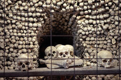 Czech Republic. Skulls and bones in the ossuary in Kutna Hora. June 14, 2016 Royalty Free Stock Photos