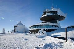 Polish chalet on Snezka peak. Snowy winter countryside, Snezka m. CZECH REPUBLIC; SNEZKA - JAN 11, 2016: Polish chalet on Snezka peak. Snowy winter countryside Royalty Free Stock Photography