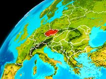 Czech republic from space. Orbit view of Czech republic highlighted in red with visible borderlines on planet Earth. 3D illustration. Elements of this image Stock Images