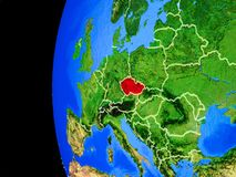 Czech republic from space. On realistic model of planet Earth with country borders and detailed planet surface. 3D illustration. Elements of this image stock illustration
