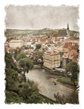 Czech Republic, the streets of Cesky Krumlov. Stylized art background Stock Images