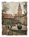 Czech Republic, the streets of Cesky Krumlov. Stylized art background Royalty Free Stock Photography