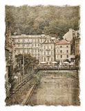 Czech Republic, the streets of Karlovy Vary. Stylized art background Royalty Free Stock Image
