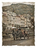 Czech Republic, the streets of Karlovy Vary.  Stylized art background Royalty Free Stock Photos