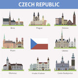 Czech republic. Symbols of cities Royalty Free Stock Photos