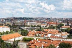 Czech Republic. Tiled roofs of houses of Prague. June 13, 2016. Czech Republic. Prague. Tiled roofs of houses of Prague. June 13, 2016 Stock Image