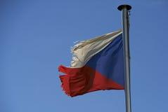 Czech Republic torn old flag against blue sky Royalty Free Stock Photos
