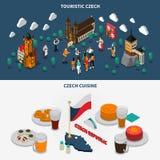 Czech Republic 2 Touristic Isometric Banners Stock Image