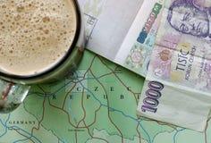 Czech Republic travel. Czech map, Czech tourist visa, 1000 CZK and a pint of beer Stock Image