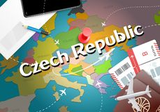 Czech Republic travel concept map background with planes, ticket stock illustration