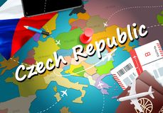 Czech Republic travel concept map background with planes, tickets. Visit Czech Republic travel and tourism destination concept. stock illustration