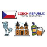 Czech Republic travel destination promotional poster with national flag. Expensive crystal wineglass, authentic gothic church and traditional alcoholic drinks Royalty Free Stock Photos