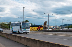 Czech Republic. Two buses. June 11, 2016. Czech Republic. Two buses on the street. June 11, 2016 Stock Images