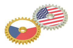 Czech Republic and USA flags on a gears, 3D rendering Stock Images