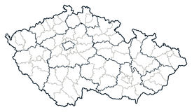 Czech republic vector map. Regions and districts of Czech republic on vector map Stock Images