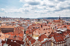 Czech Republic. A view of the tile roofs of houses of Prague from a height of Astronomical Clock. Czech Republic. Prague. A view of the tile roofs of houses of royalty free stock photos