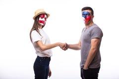 Czech Republic vs Croatia friendly handshake equal game Stock Images