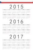 Czech 2015, 2016, 2017 rok wektoru kalendarz Zdjęcie Royalty Free