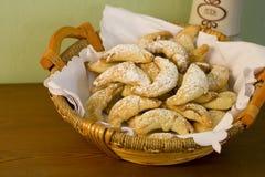 Czech roll. Sweet czech rolls with sugar stock photos