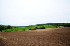 Czech rural landscape. Czech Moravian rural landscape with cloudy sky in the background Stock Image