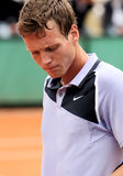Czech's Tomas Berdych is concerned. Czech's top tennis player Tomas Berdych is concerned during his match at Roland Garros, French Open, Paris, France, May 2008 Royalty Free Stock Images
