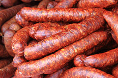 Czech sausage background Stock Images