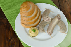 Czech sausage of pig slaughter. With bread and mustard stock photos