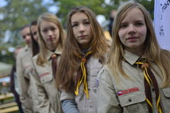 Czech scouts during finaly round of Svojsik race Royalty Free Stock Photography