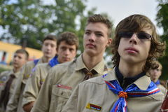 Czech scouts during finaly round of Svojsik race Royalty Free Stock Photo