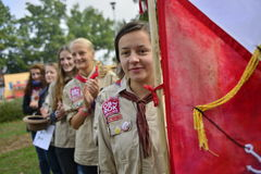 Czech scouts during finaly round of Svojsik race Stock Image