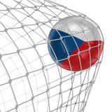 Czech soccerball in net Stock Photography