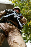 Czech soldier in action in Afghanistan Stock Images