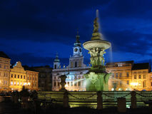 Czech square in blue hour Royalty Free Stock Images