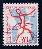 Czech stamp dedicated to 3rd spartakiada in Praha. Circa 1965 Royalty Free Stock Image