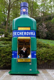 Czech Street famous shop Becherovka . Royalty Free Stock Photography