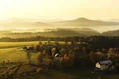 Czech Switzerland. Sunrise in the Czech Switzerland, Czech Republic.Autumn 2018 royalty free stock images
