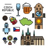 Czech traditional things icons isolated set colorful royalty free stock photography