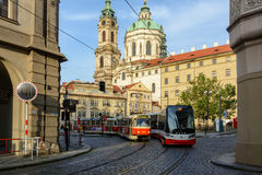 Czech tram on Malostranska Square in Prague, Czech Republic. Prague, Czech Republic - June 5, 2017: Czech tram on Malostranska Square in Prague Stock Image