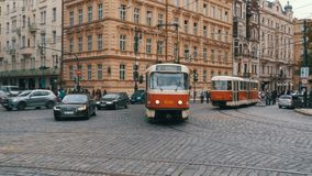 Czech Tram Rides through the Old City of the Czech Republic, Prague. CZECH REPUBLIC, PRAGUE, SEPTEMBER 12, 2017: Czech tram rides through the streets of the stock footage