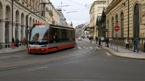 Czech Tram Rides through the Old City of the Czech Republic. CZECH REPUBLIC, PRAGUE, SEPTEMBER 12, 2017: Czech tram rides through the streets of the Czech stock video footage