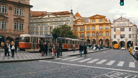 Czech Tram Rides through the Old City of the Czech Republic, Prague. CZECH REPUBLIC, PRAGUE, SEPTEMBER 12, 2017: Czech tram rides through the streets of the stock video footage