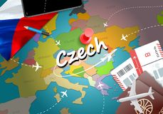 Czech travel concept map background with planes, tickets. Visit stock illustration