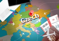 Czech travel concept map background with planes, tickets. Visit royalty free illustration
