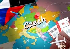 Czech travel concept map background with planes, tickets. Visit Czech travel and tourism destination concept. Czech flag on map. stock illustration