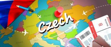 Czech travel concept map background with planes, tickets. Visit Czech travel and tourism destination concept. Czech flag on map. vector illustration