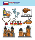 Czech travel tourism landmarks and culture famous sightseeing vector icons set. Czech Republic tourism travel symbols and famous tourist landmark sightseeing stock illustration